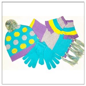 Other - Girls Size 6-12 Winter Hat, Scarf & Mittens Set